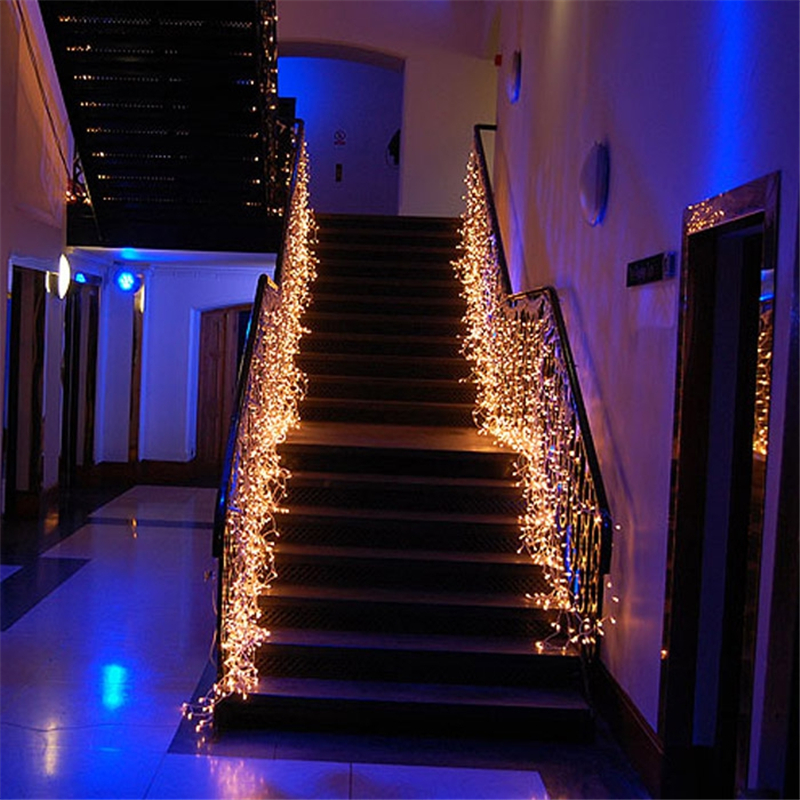 35m waterfall led string lights christmas garland new years light outdoor on the window decoration