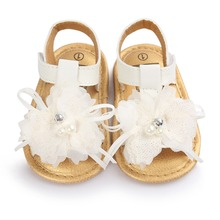 [Bosudhsou] R-54 Baby Girl White Flower Infant Soft Sole Princess Shoes Summer Toddler Baby Shoes sandal Children Clothing
