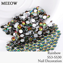 SS3-SS30 Rainbow Nail Art Rhinestones With Round Flatback For Nails Art Cell Phone And Wedding Decorations(China)