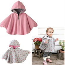 Promotion ! 2016 Fleece Baby Coat Babe Cloak Two-sided Outwear Floral Baby Poncho Cape Infant toddler newborn Baby Coat DK005(China)