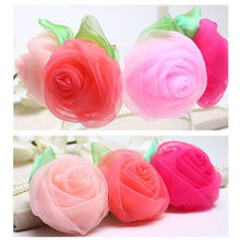 1PC Chiffon Rose Flower Hairpins Kids Accessories Green Leaf Children Hair Accessories Baby Delicate Rose Hair Clip