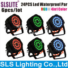 SLSLITE 6pcs/lot  24x10w Outdoor Led Par 10w High Power Leds Quad Color Rgbw 4in1 Par Can Lights led floodlight