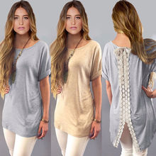 Hot Sale Summer Ladies Womens Casual Shirt Plain Simple Design Short Sleeve Lace Back Loose T-Shirt Tees Slim Tops Plus Size(China)