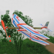 NEW Educational DIY Assembly Airplane Aircraft Launched Powered By Rubber Kids Model Building Kits Kids Toys