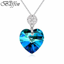 2015 Silver  Jewelry 925 Sterling Silver Heart Necklaces Crystal from Swarovski Women Fine Jewel 5 Color