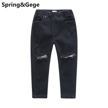 Children Jeans Boys Jeans Fashion Holes Design Kids Pants Girls ripped skinny jeans Spring Autumn baby girl straight Trousers(China)