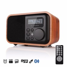 FM Radio Wooden Digital Multi Functional Speaker Bluetooth Alarm MP3 Player Micro SD/TF Card USB Remote Controller(China)