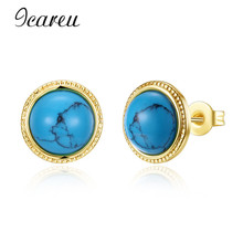 Icareu Wholesale Women Jewelry Ethnic Vintage Gold Natural Stone Earrings Turquoises Agates Crystal Quartz Stone Stud Earring(China)