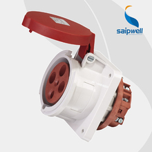 Wholesale Saipwell SP1248 IP44 4pin socket connector 400V 63A ac outlet power electrical socket panel mount Industrial Use