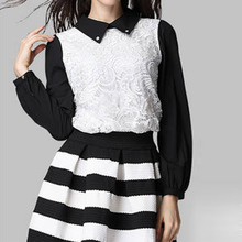 Black and white stripe short skirt Free size spring and autumn high waist puff skirts female lx*E3444*5(China)