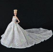 Handmade Dress Doll Dress Sexual Long Tail's Evening Gown Purely Manual Clothes Lace Wedding Dress for Barbie Dolls(China)