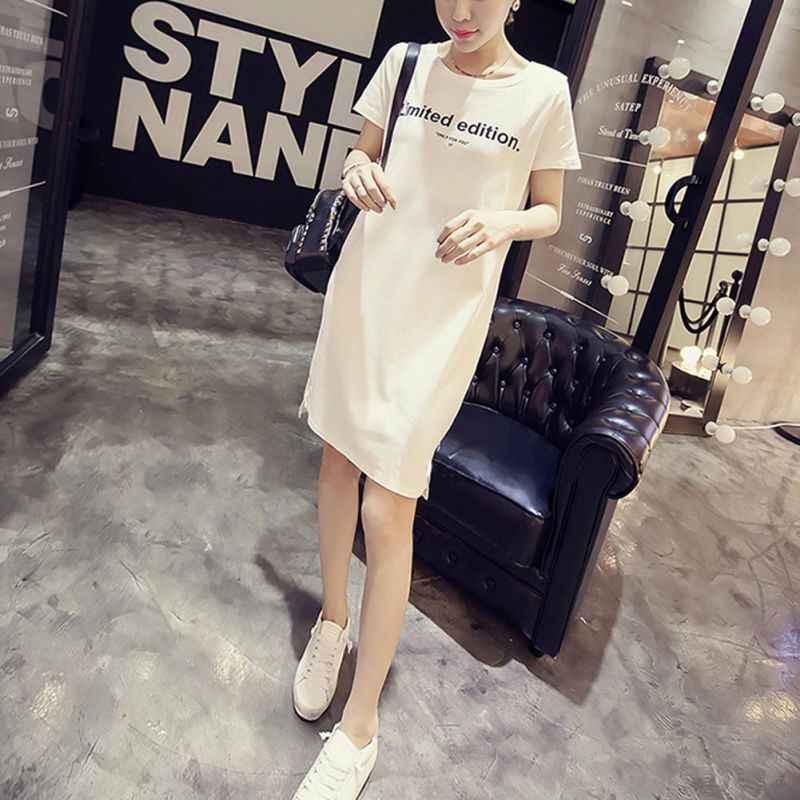 4a37f2bea44 Plus Size S-2XL Summer Letter Print Tee Dress Women Korean Casual Loose  Long Tees