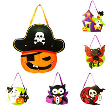Cute Halloween DIY Paper candy gift bag kids Trick or treat candy carrier handbag sugar Pouch tote Gothic Skull/Castle/Devils