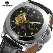 2017 Forsining Diamond Automatic Watches Men's Luxury Brand Casual Style Watch Personality Pointer Genuine Leather Band Watch
