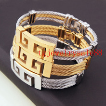 New Fashion Silver Gold Tone Stainless Steel Biker Mens Womens Twist Cable ID Great Wall Bracelets Bangle Xmas Gift Jewelry 15mm