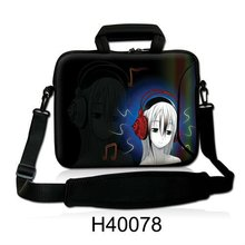 "Neoprene Fashion Girl Headset Music Design Laptop Shoulder Bag Handle Messenger Cover Notebook Pouch Case For 10""13""14""15""17"" HP(China)"