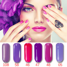 MSHARE 1pcs Purple Series Colorful Nail Gel Polish UV LED Gel Varnish Art Design Manicure Nail Lacquer Vernis Semi permanent(China)