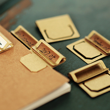 6pcs/box Retro Brass Bookmark Metal Index Clamp Label Clip Stationery Gift Paper Clips Memo Clips Scrapbooking Tools Accessories(China)
