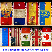 Hard PC Phone Cases For Huawei Nova CAN-L12 CAN-L11 Nova Plus G9 G9 Plus G8 Plus Ascend G700 Bags Russia UK Brazil Flag Cover