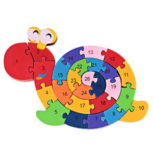New Educational Toys Brain Game Kids Winding Snail Wooden Toys Wood Kids 3d Puzzle Wood Brinquedo Madeira Kids Jjigsaw Puzzles(China)