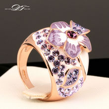 Hot Sale Exaggerated Purple Enamel Flower Finger Rings Rose Gold Color Punk Brand Jewelry For Women Wholesale DFR045(China)