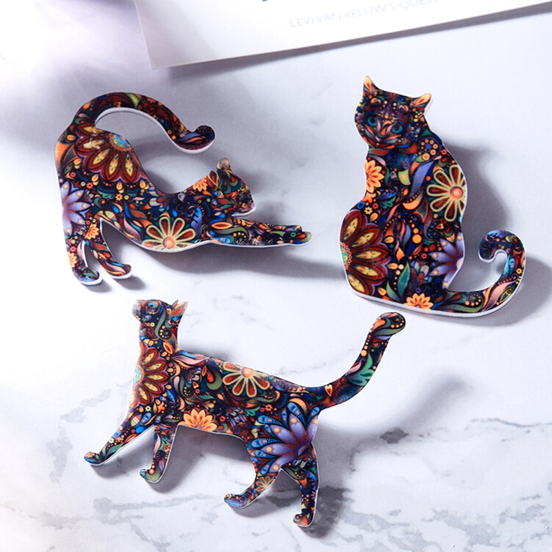 Acrylic Animal Cat Brooch Pin For Women Badges Dress Coat Hat Bag Brooch Accessory Jewelry