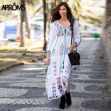Aproms GYPSY Bohemian Embroidery Flower White Maxi Dress Women Autumn 2017 Retro Long Sleeve Loose Cotton Dresses Tassel Vestido(China)