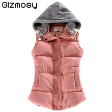 Women Autumn/Winter Fashion Waistcoat Hooded Thick Warm Down Cotton Wool Collar Vest Female Large Size Jacket&Outerwear SY045SY