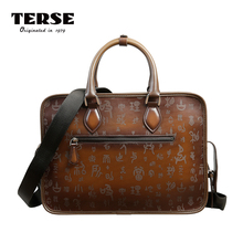 TERSE_Handmade Corium Leather Briefcase For Men Bordeaux Red Luxury Business Man Document Bag With The Engraving Service(China)