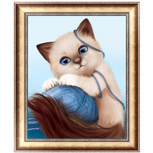 5D Diamond Embroidery Craft Cute Cat Painting Cross Stitch DIY Mosaic Home Decor 40*30cm-Y102