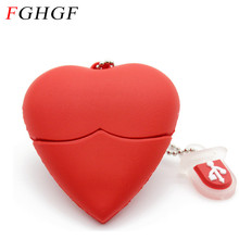 FGHGF Love heart style usb flash drive pen drive 4gb 8gb 16gb usb stick pendriver USB 2.0 u disk thumb drive necklace(China)