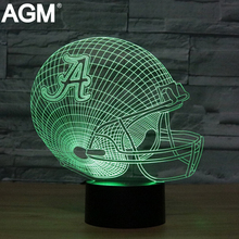 AGM LED 3D lamps Alabama Crimson Tides Night Light NFL Football Helmet Table Touch 7 Colors Desk Lamp Luminaria USB Gifts Toy