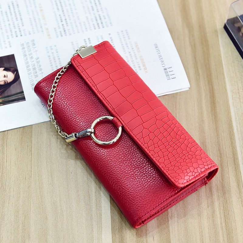 Women Leather Wallets Chain Long Clutch Wallets Luxury Brand Card Holder Coin Purses Clutches Bag Carteras Feminina Portemonnee<br><br>Aliexpress