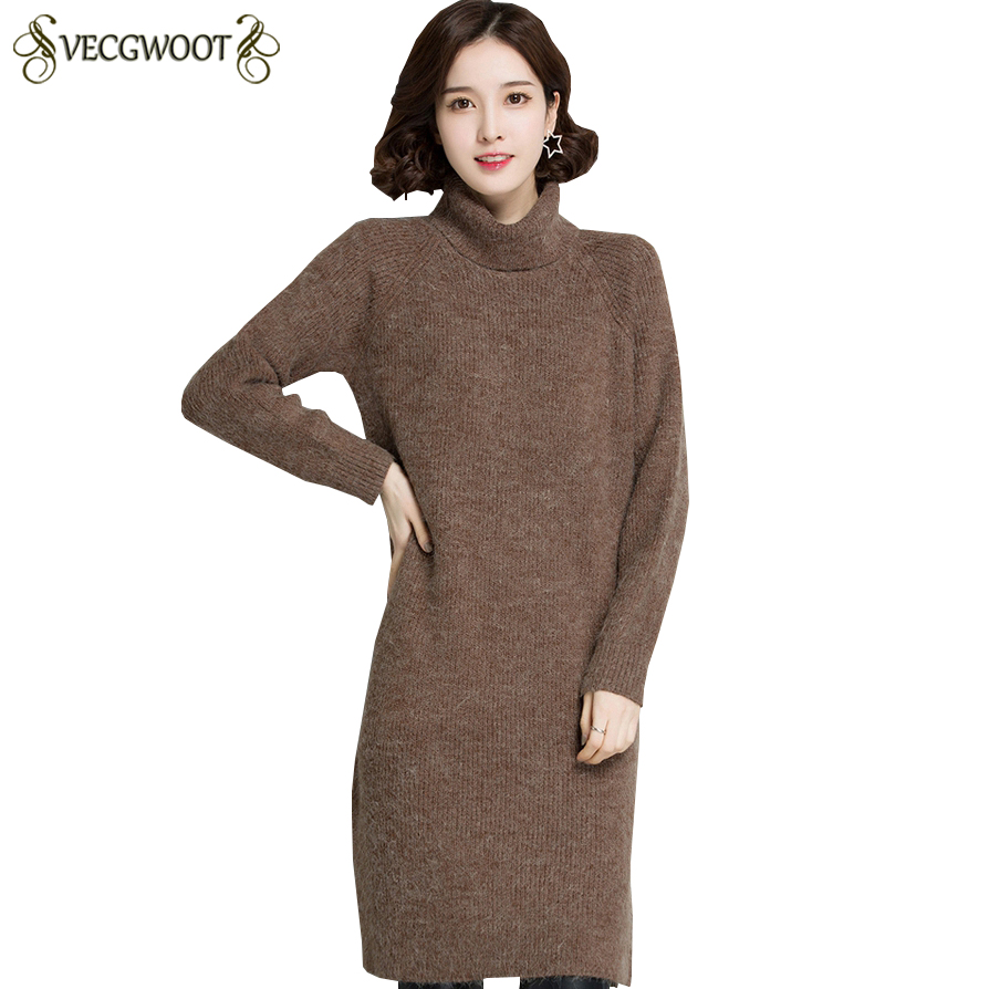 Autumn Winter New Long Pullover Inner wear Sweater Women High collar Knitted Sweater Women Solid color Large size Sweater S662