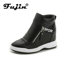 Fujin Brand Wedge high heels zapatos mujer Platform Heels ladies Canvas Shoes chaussure femme women school zapatos Casual Shoes(China)