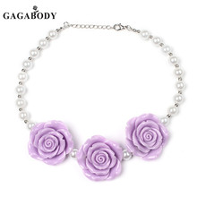 Gagabody Cheap Pink White Blue Rose Necklace Girls Small Beaded Bubble Gum Kids Chunky Necklaces Bubblegum(China)