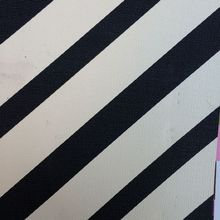 synthetic PVC black and white skew stripe printed leather material(China)