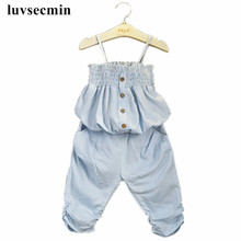 2-8Years New Fashion 2017 Girls Clothing Sets Kids Summer Baby Toddler Girl Clothes Denim Strap Tube Tops+Pants 2Pcs Suit JW1343(China)