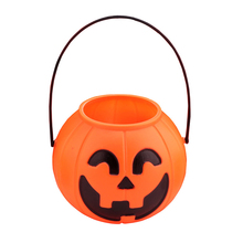 16CM Halloween Portable Pumpkin Bucket Children Trick or Treat Pumpkin Candy Pail Holder Halloween Supplies #250799(China)