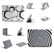 Ultra Thin Light Weight Black White Circle Spiral Pattern Laptop Hard Case Shell Cover for Apple Macbook Air 11 11.6in(China)