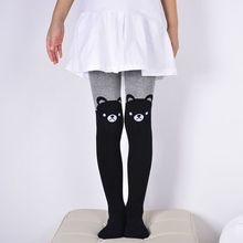 Spring Autumn Girls Tights Cartoon Cat Baby Girl Pantyhose Knitted Cotton Cute kids Stockings Kitty Bear Tight For Children 2017(China)