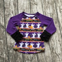 baby Fall girls full sleeve icing boutique Halloween skull print time top T-shirt clothes ningbo baby kids wear firm(China)