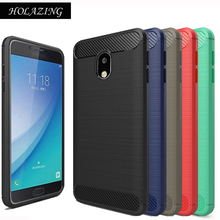 HOLAZING Glossy Rugged Full Body Armor Case for Samsung Galaxy J7 2017 EU Anti-Shock Absorption Luxury Carbon Fiber Design Cover(China)