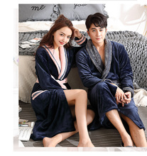 2017 Hot Thick Couple Robes Warm Lovers Sleepwear Robe Woman Flannel Nightwear Man New Soft Bathrobe Plus Size Nightclothes(China)