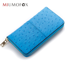 Woman genuine leather wallet Fashion Ostrich long design zipper wallets European Style ladies purses MIUMOFOX HPL60017-Ostrich(China)