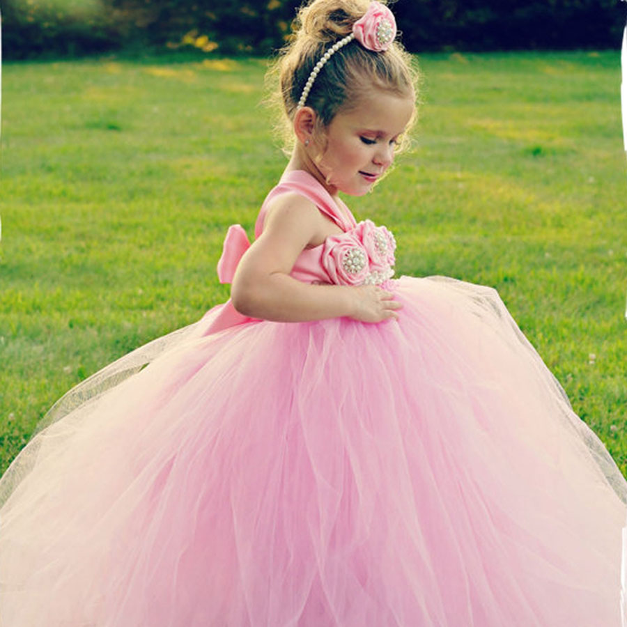 Ivory Flower Girl Dress Fashion Wedding Birthday Party Pageant Bridesmaid Tutu Dress Princess Baby Kids Clothing TS074<br><br>Aliexpress