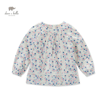 DK0493 dave bella  autumn baby girls  daisy printed blouse girls flower printed t-shirt kid tops girls ethnic t-shirt