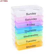 JETTING Weekly Pill Case Medicine Storage plastic container box for 7Day Tablet Sorter Dispense Daily Pill holder Case Organizer