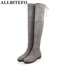 ALLBITEFO Size 34-43 Look slim sexy women boots high quality women's over the knee boots 2016 new winter flat heel gilr boots(China)