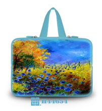"New Light Blue Series Netbook Handle Hidden Soft Tote Neoprene Autumn Painting Type10""13""14""15""17""Computer Grip Handbag For Sony"
